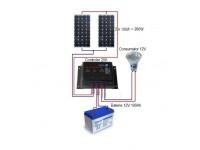 Sistem fotovoltaic de 12-24 V si 200W cu baterie 100Ah